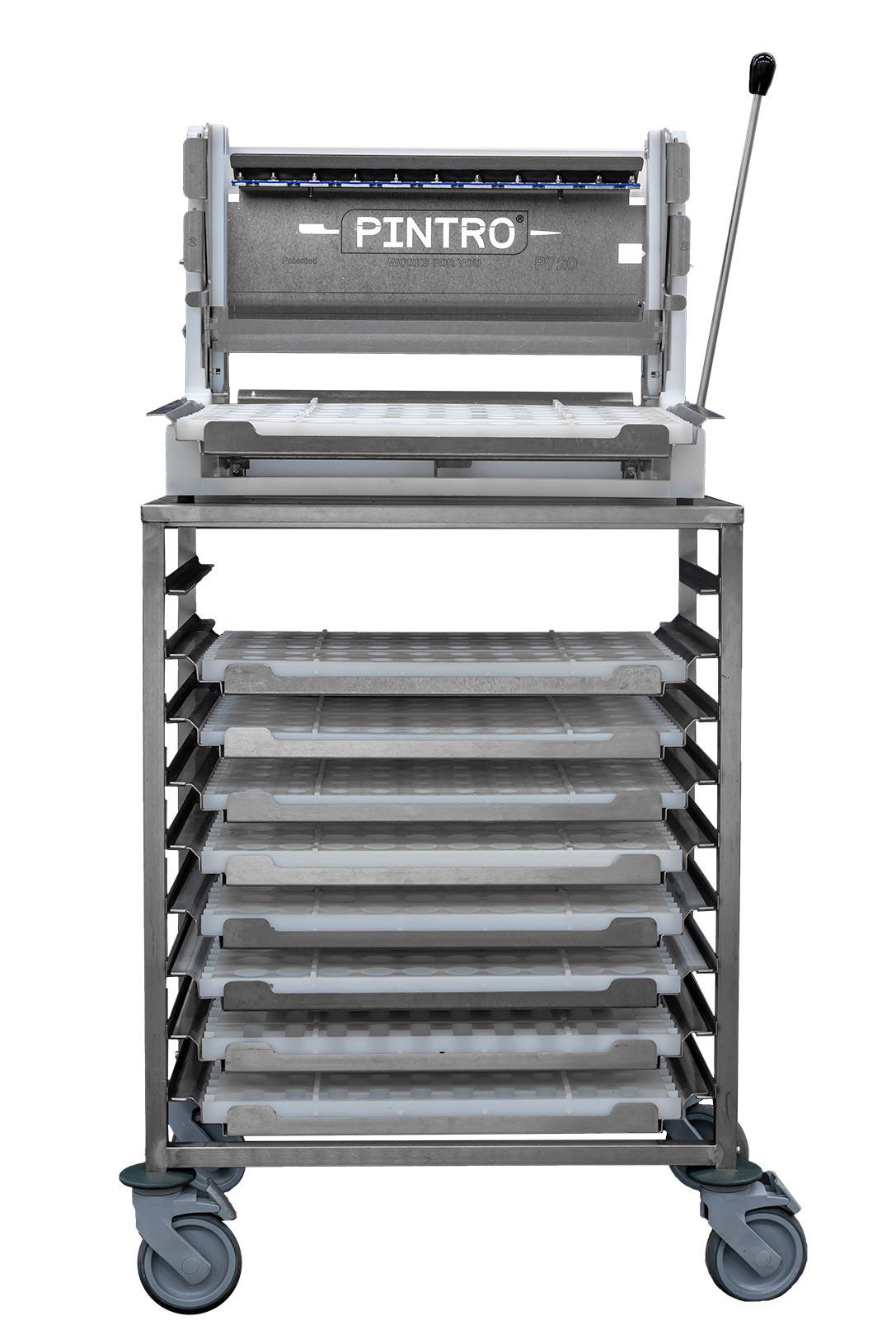 PINTRO P720 manual skewering machine working table and mobile rack